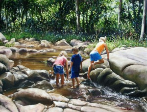 Children playing in the Creek 2010 uf 60 x 46cm